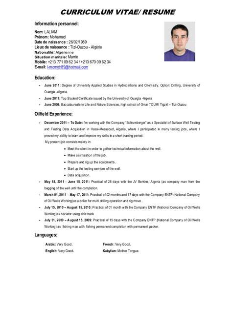 Curriculum Vitae Resume by Curriculum Vitae Mohamed