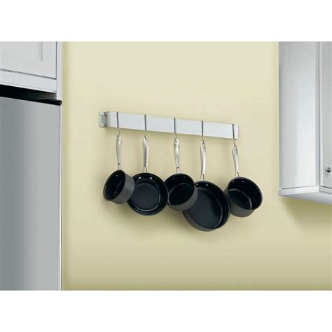home depot pot rack cuisinart 33 in bar wall pot rack in brushed stainless