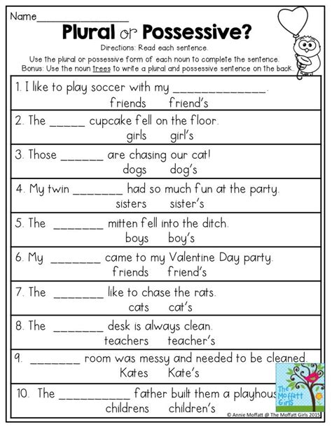 Plural Or Possessive? Use The Plural Or Possessive Form Of Each Noun To Complete The Sentence