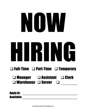 now hiring template customizable now hiring sign template