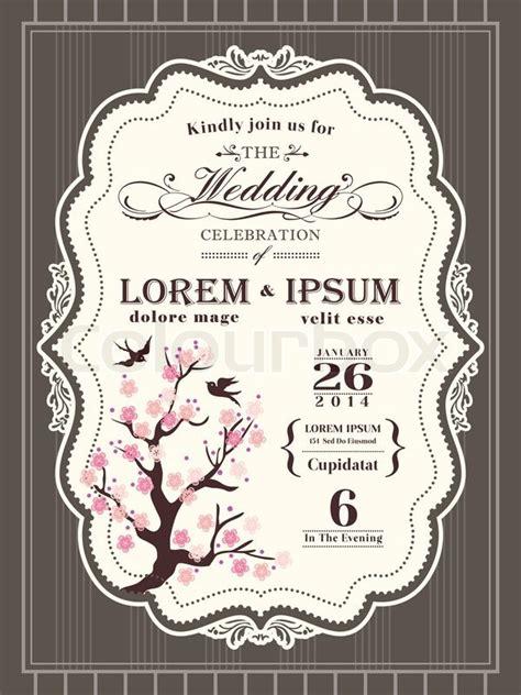 vintage cherry blossom wedding stock vector colourbox