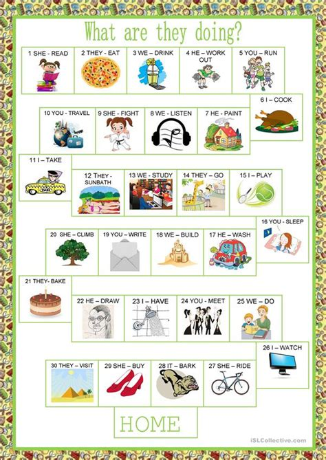 Board Game  Present Continuous Worksheet  Free Esl