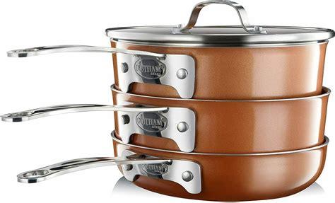 gotham steel stackmaster copper cast textured  piece cookware set ebay