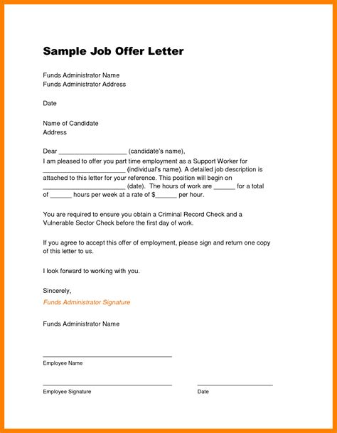 employment offer template  invoice letter