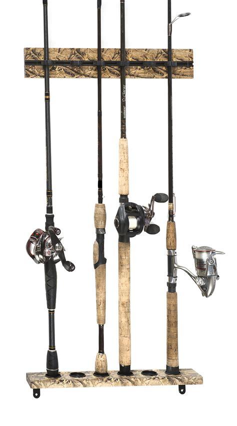 fishing rod holder organizer storage rack lock wall mount hanger vertical stick  ebay