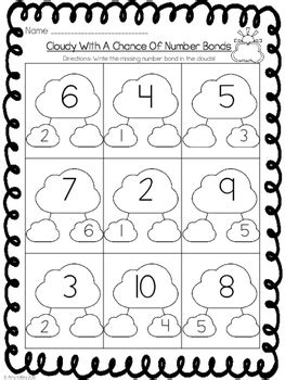 cloudy with a chance of number bonds kindergarten