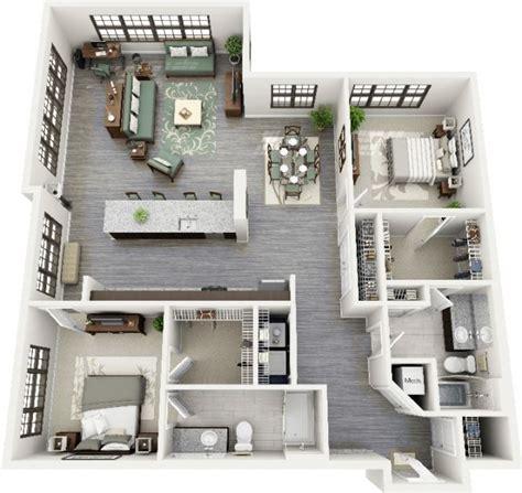 appartement 2 chambres 50 plans 3d d 39 appartement avec 2 chambres architecture