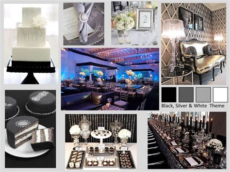 mood board   corporate gala party black silver