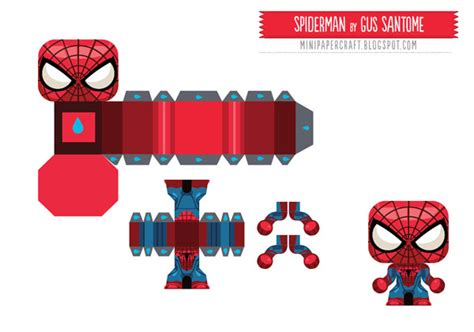 Batman Gift Box Template by 715 Spiderman Papertoy Template Spiderman Mini Paper Toy