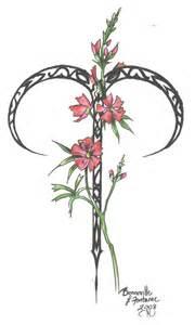 Aries Flower Tattoo Designs