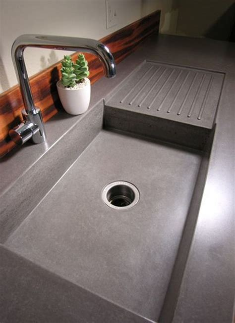 kitchen sink built into countertop concrete countertop ideas and exles part 1 of 2