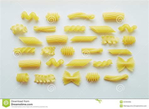 different types of pasta on white background stock image image 34494095