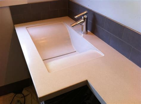 bone colored bathroom sinks a bone colored gfrc sink and vanity with a slot drain