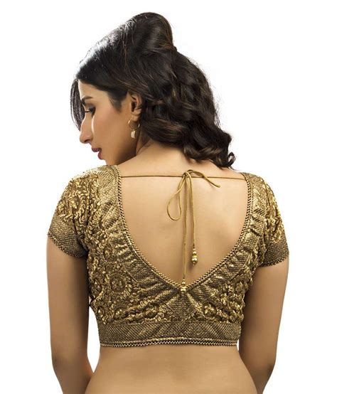 black faux georgette readymade gold blouses clothing