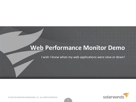 solarwinds web help desk demo application performance monitoring and troubleshooting