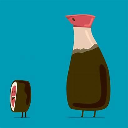 Sauce Soy Sushi Cartoon Polyester Gifs Studio