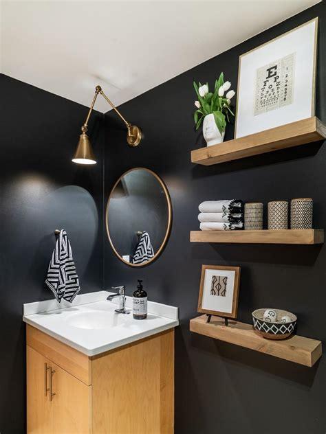 contemporary black guest bathroom  floating shelves hgtv