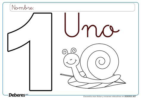 Ficha del numero 1 para colorear (e imprimir)
