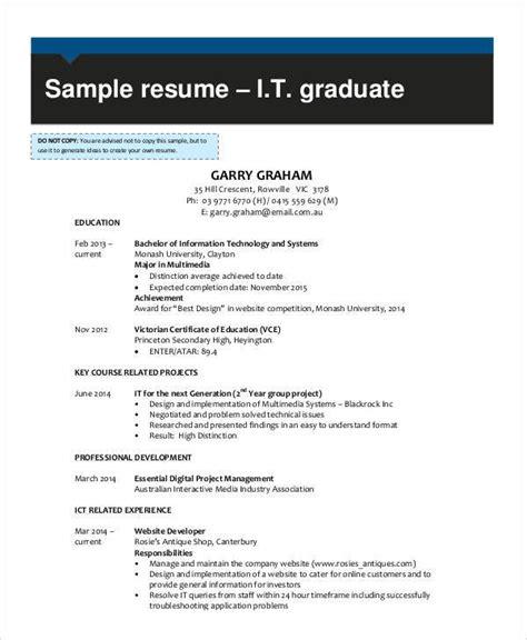 resume samples  ms word