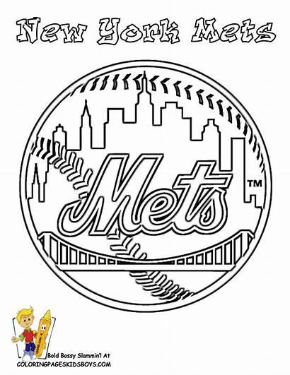 York Coloring Baseball Mets Pages Mlb Sports