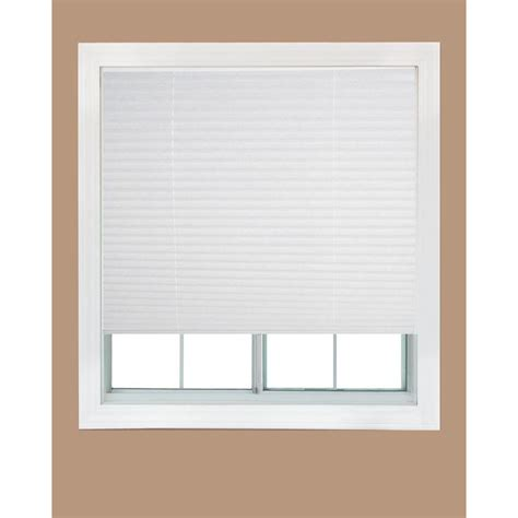 white fabric corded light filtering pleated shade 36 in w x 72 in lredi shade 202617597