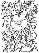 Coloring Printable Adults Floral Flowers Flower Digital Instant Simple Templates Bathroom Mylifeuntethered sketch template