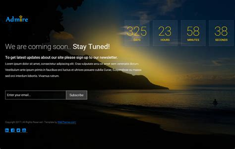 Coming Soon Web Page Templates by Admire Bootstrap Coming Soon Web Template Webthemez