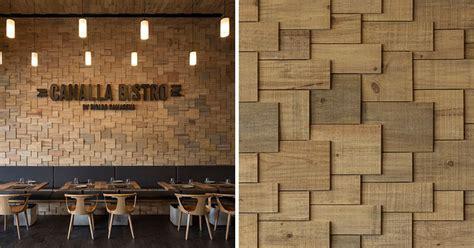 walls   restaurant  covered  wood shingles
