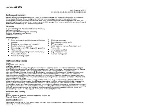 pharmacy manager resume sle quintessential livecareer