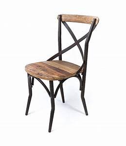 Chaise Bistrot Metal : chaise bistrot de style vintage industrielle m tal et vieux bois le d p t des docks ~ Teatrodelosmanantiales.com Idées de Décoration