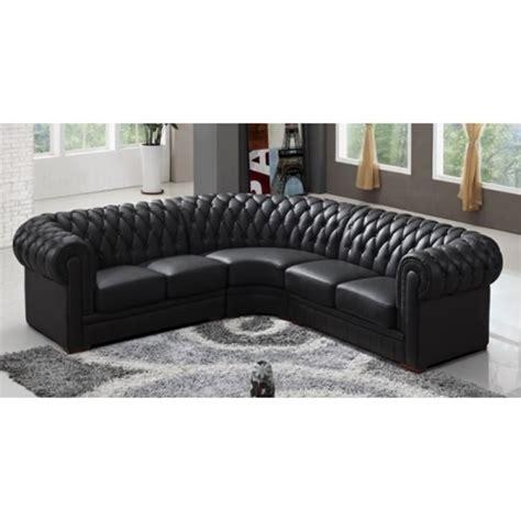 canapé d angle noir cuir canapé d 39 angle capitonné cuir chesterfield noir achat