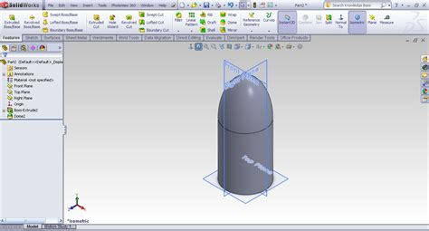 tutorial  dome feature  solidworks grabcad