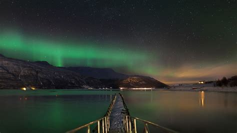 norway march northern lights nature landscape norway mountains aurora borealis