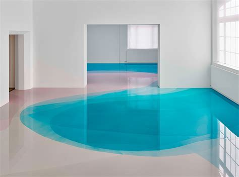 peter zimmermann floods freiburg museum with glossy pools