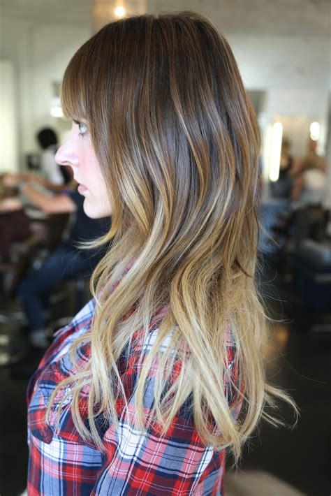 ambre color before and after added length and ombre neil george