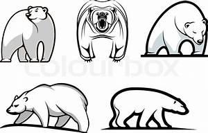 Set of cartoon polar bears showing five different stances ...
