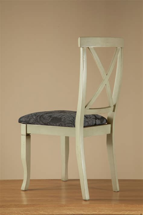 painted acacia and patterned blue fabric dining chair