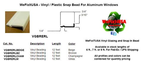 glazing bead  aluminum vinyl wood windows doors vgbrerl biltbest window parts