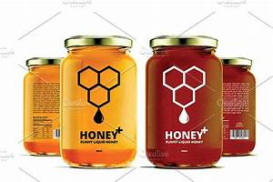 honey labels v2 templates creative market With design your own honey jar labels