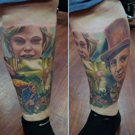 willy wonka tattoo designs  men chocolate factory