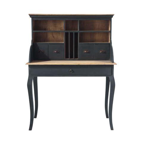 bureau secrétaire en bois noir l 102 cm chenonceau