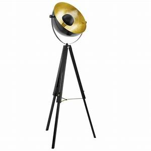 eglo 49618 covaleda tripod floor lamp in black brass and gold With brass tripod floor lamp uk