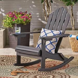 Harlee, Outdoor, Adirondack, Acacia, Wood, Rocking, Chair, Dark, Gray, -, Walmart, Com