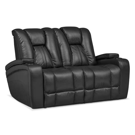 Power Reclining Loveseat by Pulsar Dual Power Reclining Loveseat Black Value City