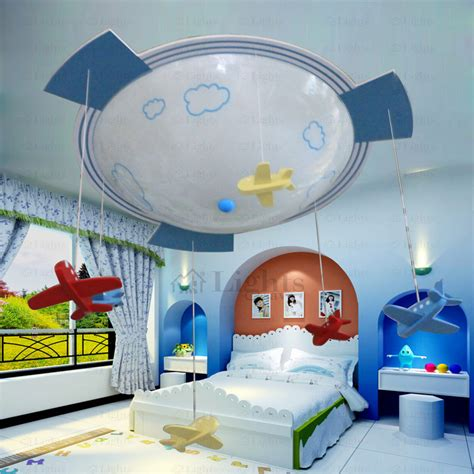 Plane Shaped 3light Glass Shade Kids Room Ceiling Light