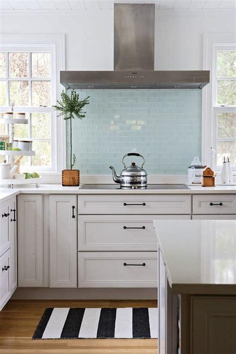 glass backsplash for kitchens blue glass tile backsplash cottage kitchen bhg