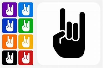 Roll Rock Vector Hand Icon Square Button