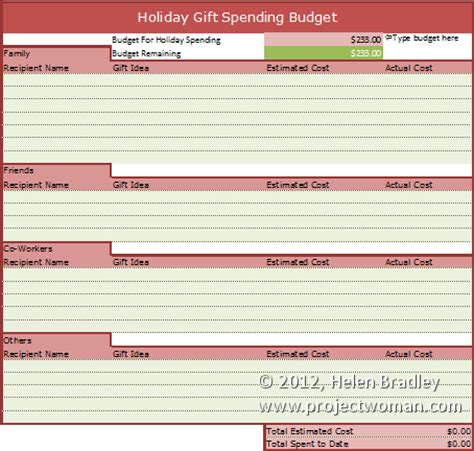 holiday gift budget worksheet 171 projectwoman com