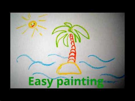 palme einfach malen   draw holiday palm sea sun