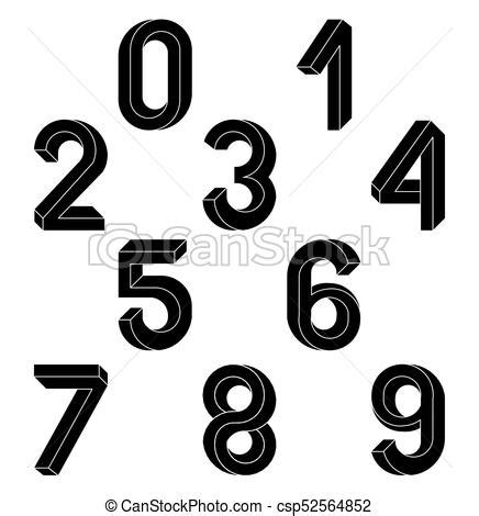 clipart numeri geometria impossibile numeri eps 10 isometrico